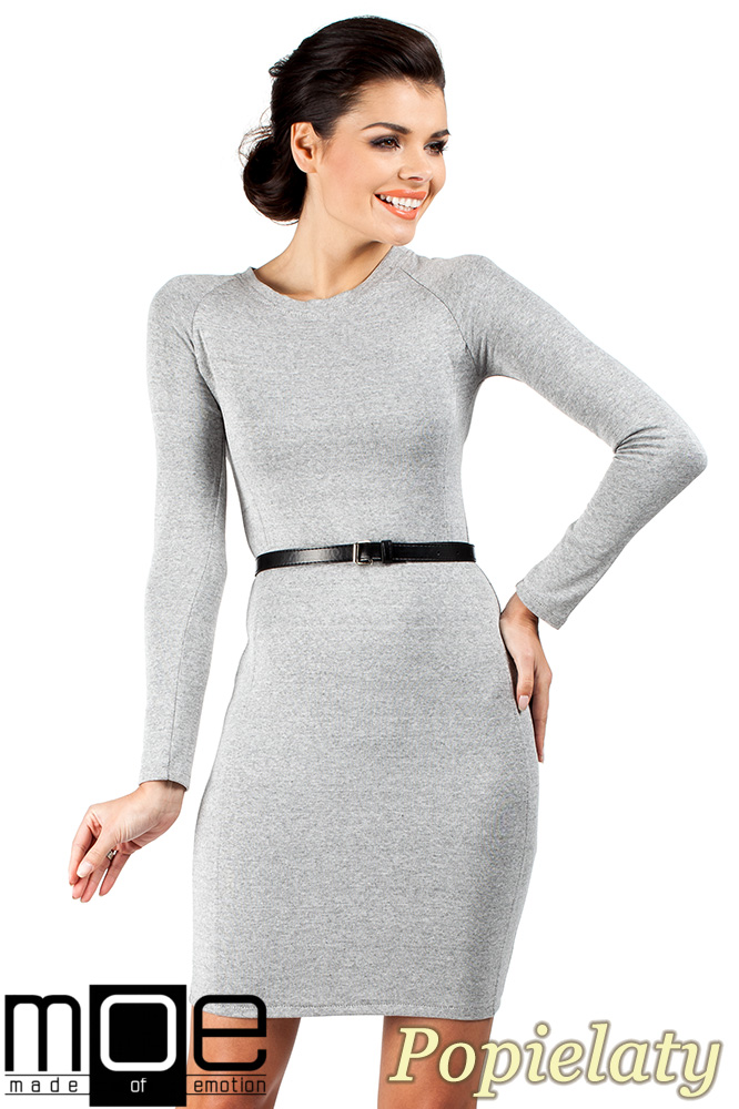 CM0326 Klasyczna sukienka mini - popielata