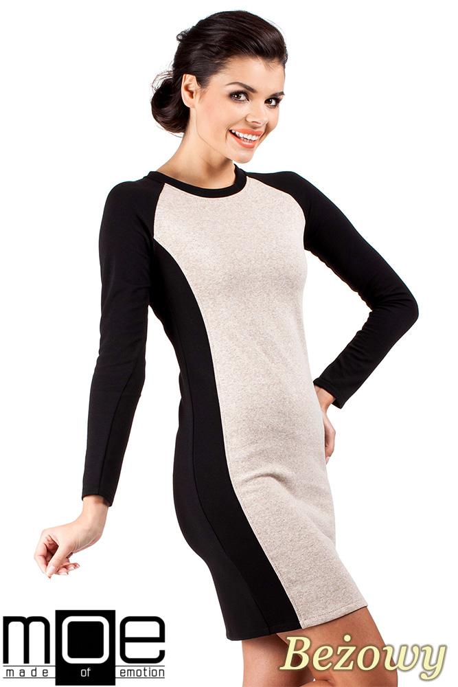 CM0327 Klasyczna dwukolorowa sukienka mini - beżowa