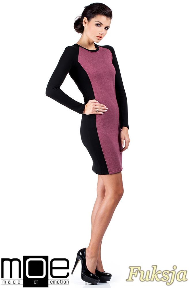 CM0327 Klasyczna dwukolorowa sukienka mini - fuksja