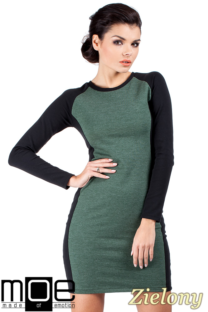 CM0327 Klasyczna dwukolorowa sukienka mini - zielona