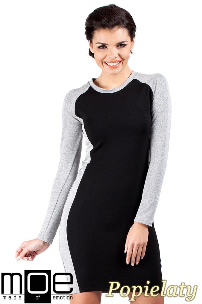 CM0328 Dwukolorowa sukienka mini - popielata