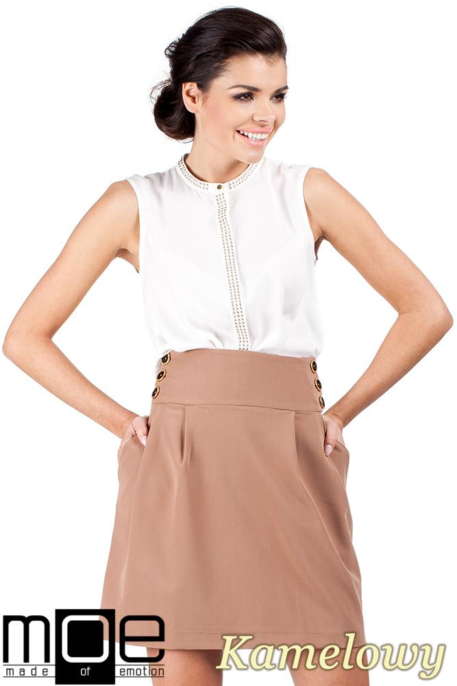 CM0331 Rozkloszowana spódnica spódniczka - kamelowa