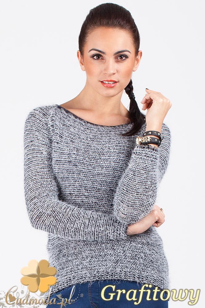 CM0378 Sweterek damski moherowy z lamówką - grafitowy
