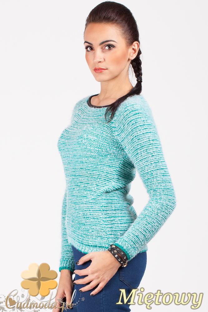 CM0378 Sweterek damski moherowy z lamówką - miętowy