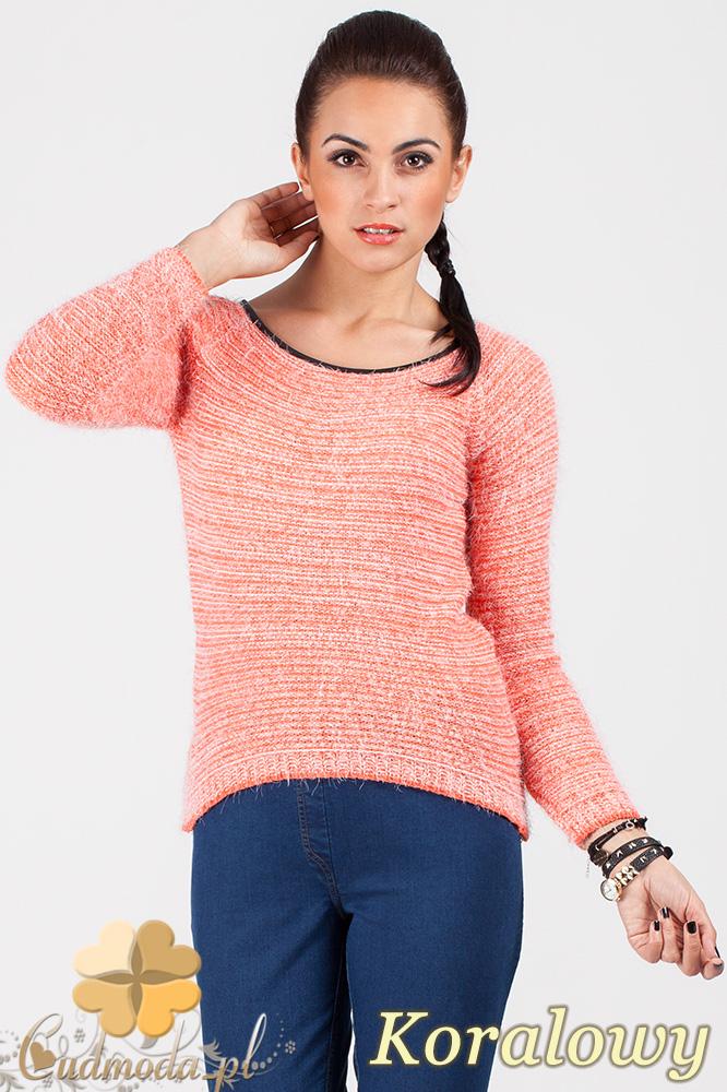 CM0378 Sweterek damski moherowy z lamówką - koralowy