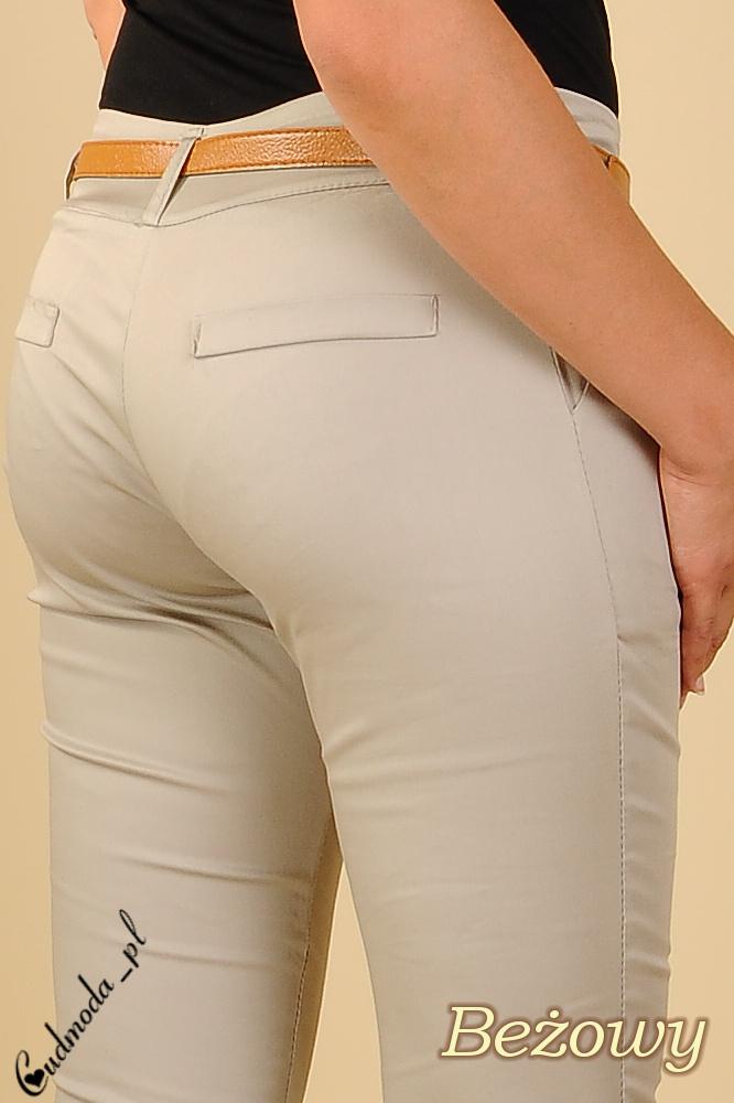 CM0113 Spodnie rurki cygaretki zameczki - beżowe