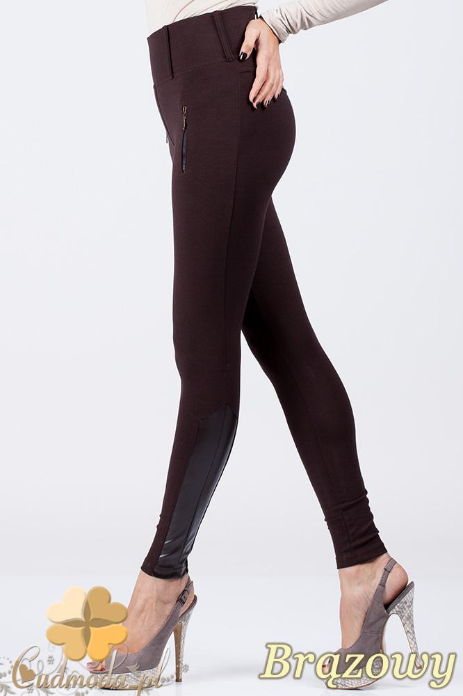 CM0303 Spodnie legginsy z zameczkami i wstawkami ze skórą - brązowe