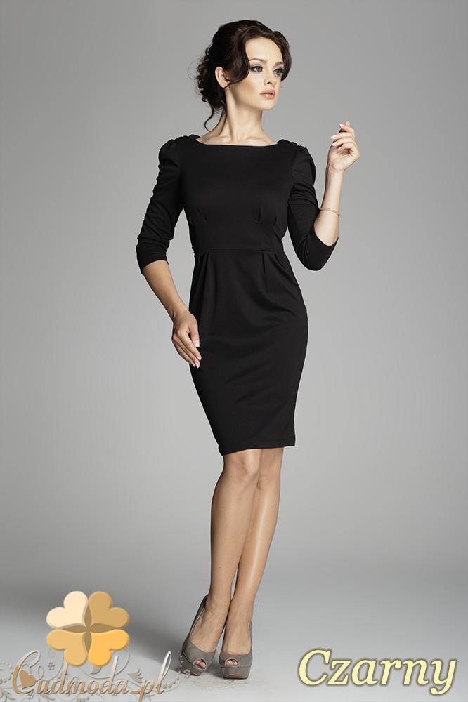 CM0400 FIGL M082 Sukienka ołówkowa z bufkami i rękawem 3/4 - czarna