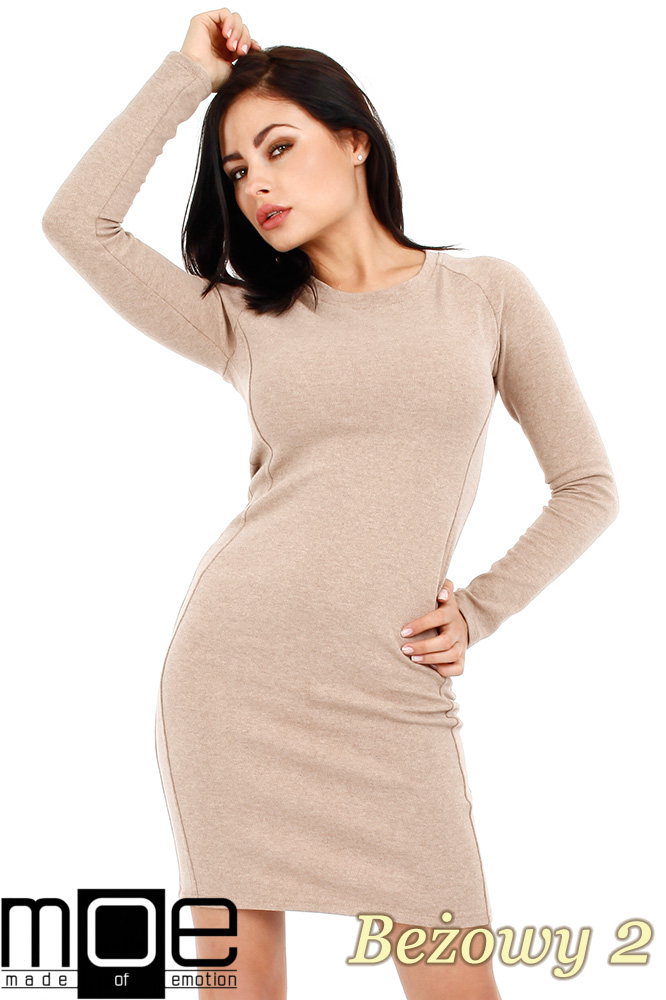 CM0326 Klasyczna sukienka mini - beżowa 2