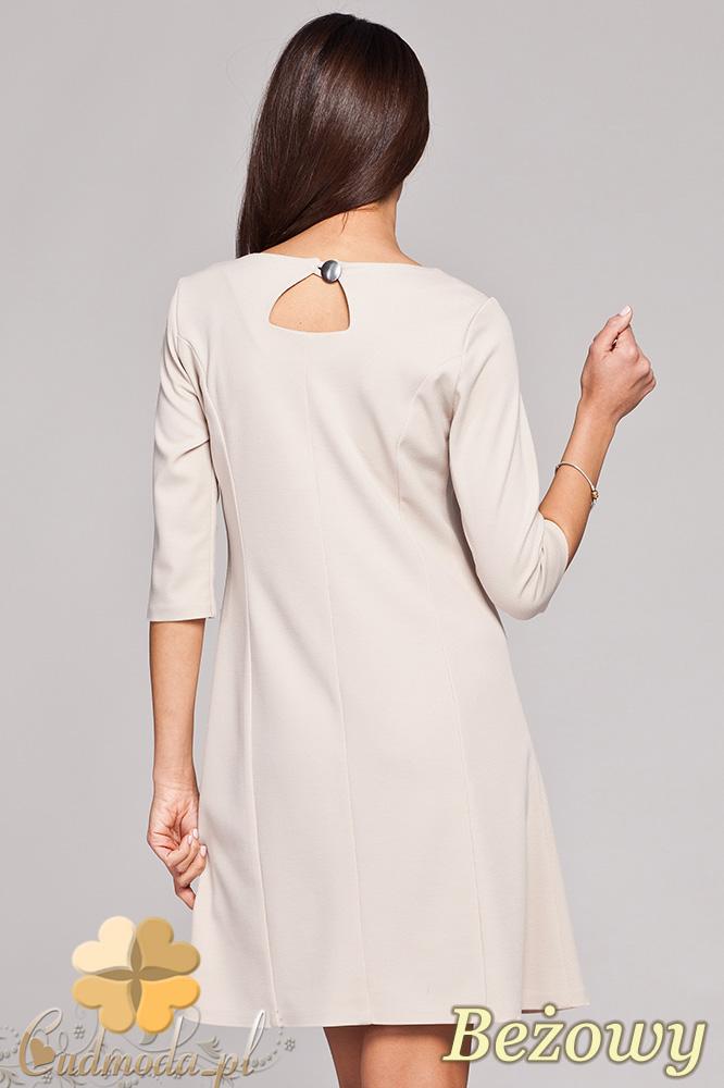 CM0403 FIGL M145 Trapezowa sukienka rękaw 3/4 - beżowa