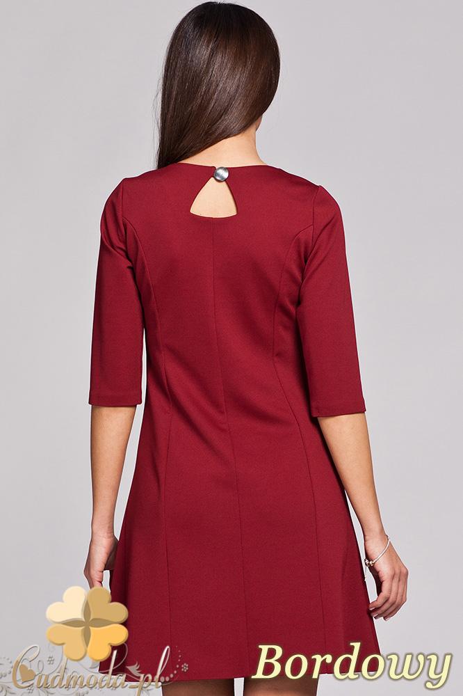 CM0403 FIGL M145 Trapezowa sukienka rękaw 3/4 - bordowa