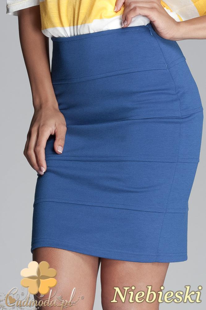 CM0406 FIGL M084 Spódniczka mini bandażowa - niebieska