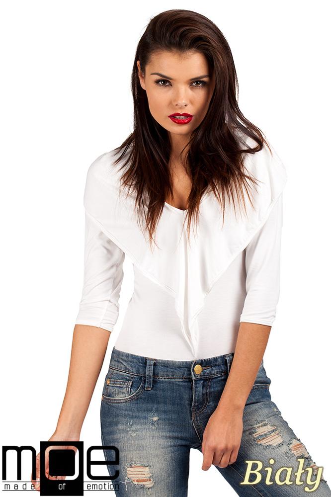 CM0377 Eleganckie body bluzka z kapturem - białe