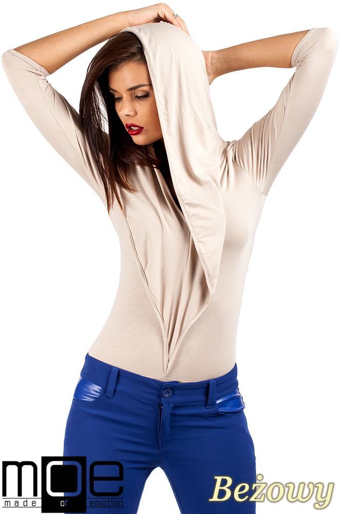 CM0377 Eleganckie body bluzka z kapturem - beżowe
