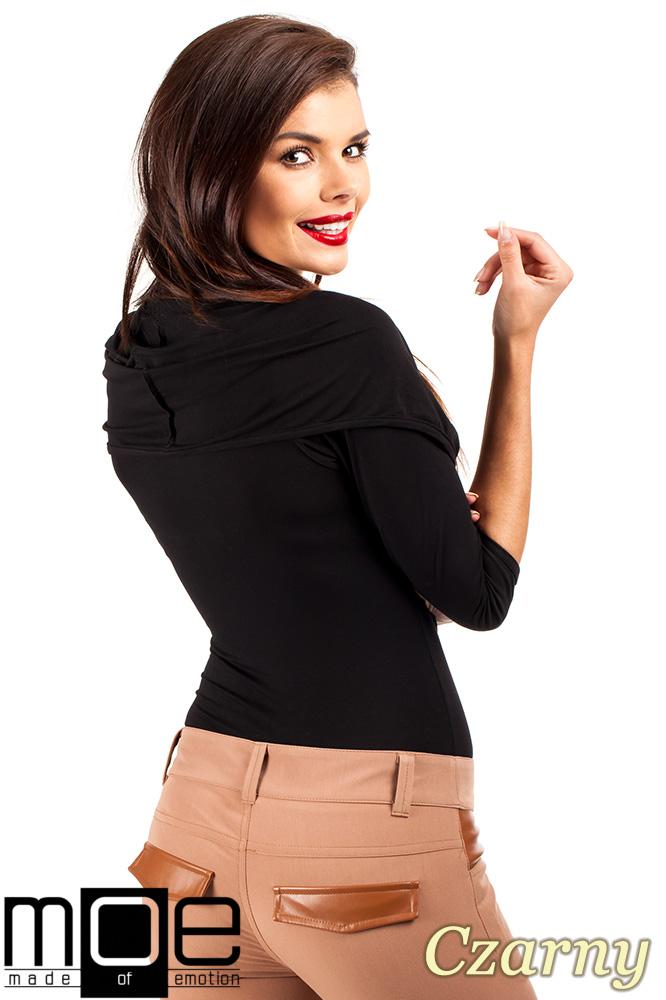 CM0377 Eleganckie body bluzka z kapturem - czarne
