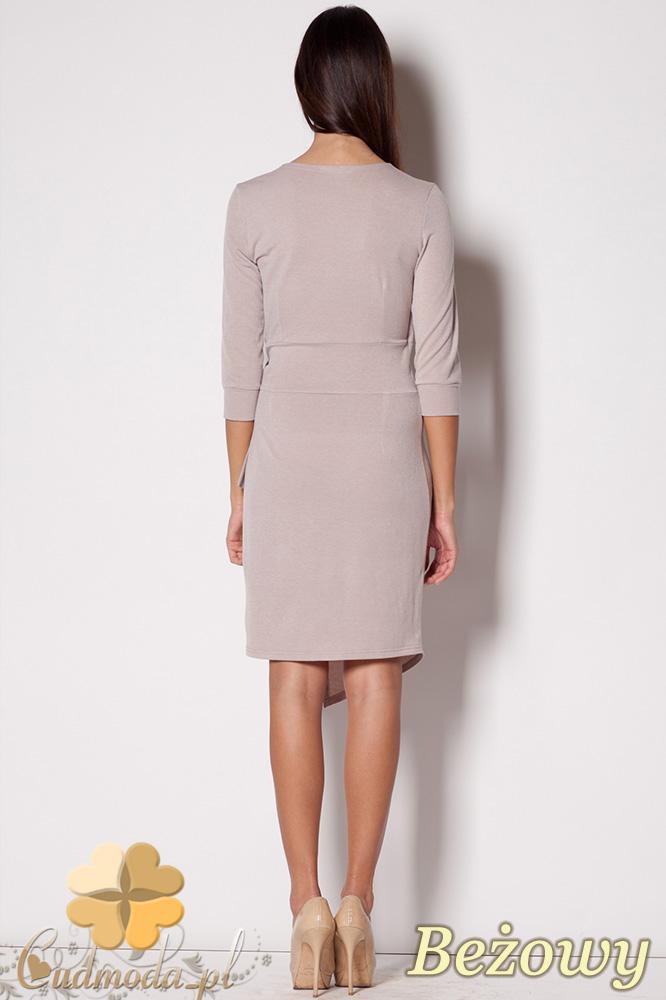 CM0417 FIGL M223 Szmizjerka wiązana sukienka z dekoltem - beżowa