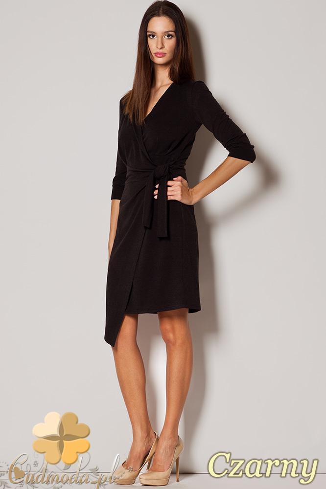 CM0417 FIGL M223 Szmizjerka wiązana sukienka z dekoltem - czarna