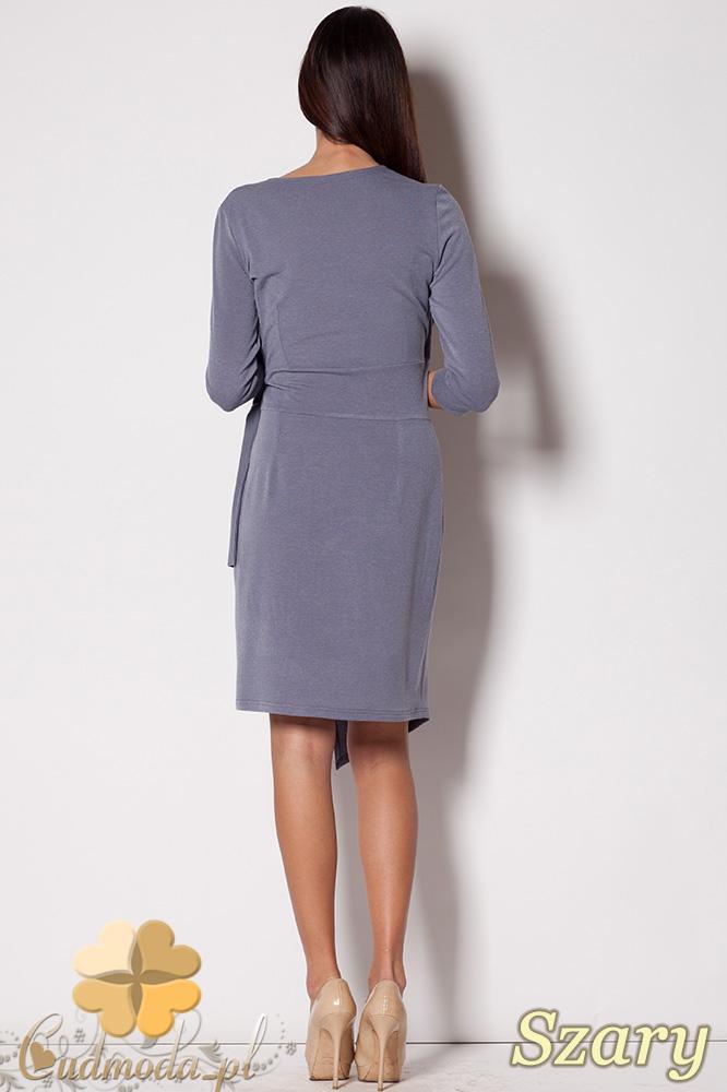 CM0417 FIGL M223 Szmizjerka wiązana sukienka z dekoltem - szara
