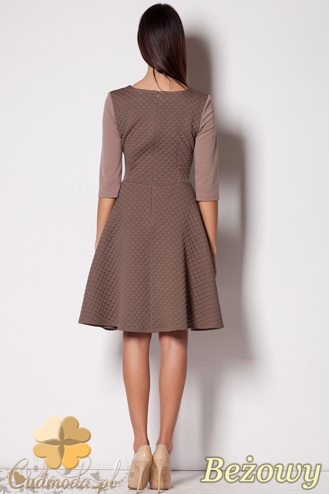 CM0426 FIGL M235 Rozkloszowana pikowana sukienka - beżowa