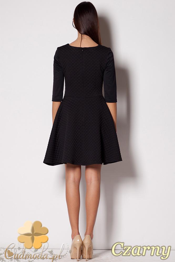 CM0426 FIGL M235 Rozkloszowana pikowana sukienka - czarna