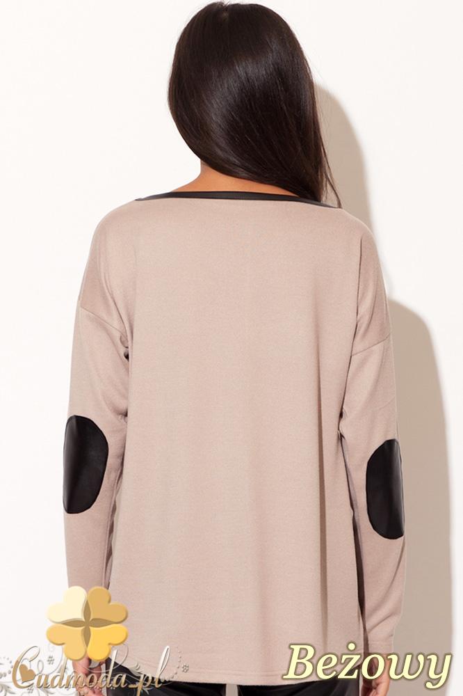 CM0435 KATRUS K118  Sweter damski z łatami ze skóry - beżowy