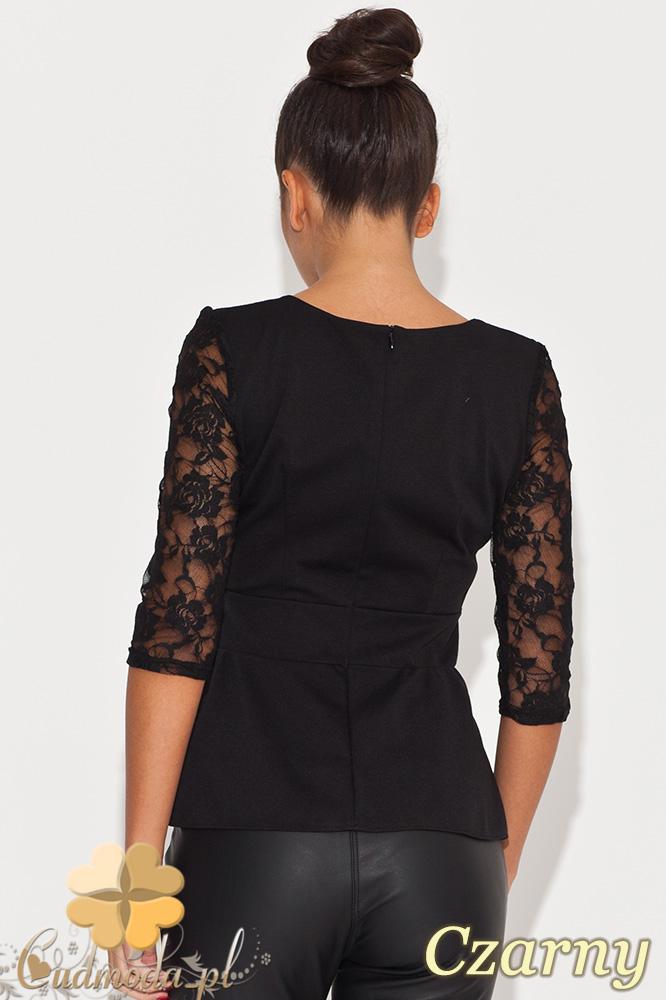 CM0451 KATRUS K071 Kobieca bluzka z baskinką i koronkowym rękawem - czarna