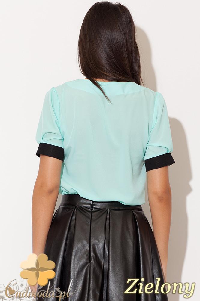 CM0455 KATRUS K088 Szyfonowa bluzka damska z kołnierzykiem - zielona