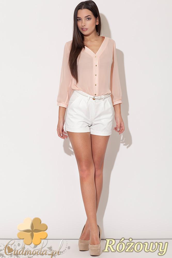 CM0457 KATRUS K089 Koszulowa bluzka damska ze złotymi guzikami - różowa