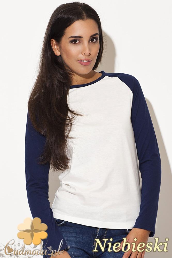 CM0461 KATRUS K108 Dwukolorowa bluzka damska w sportowym stylu - niebieska