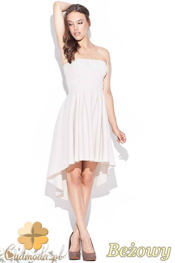 CM0468 KATRUS K031 Rozkloszowana asymetryczna sukienka - beżowa