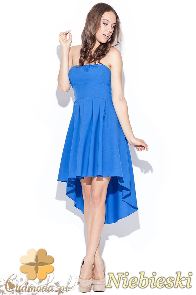 CM0468 KATRUS K031 Rozkloszowana asymetryczna sukienka - niebieska
