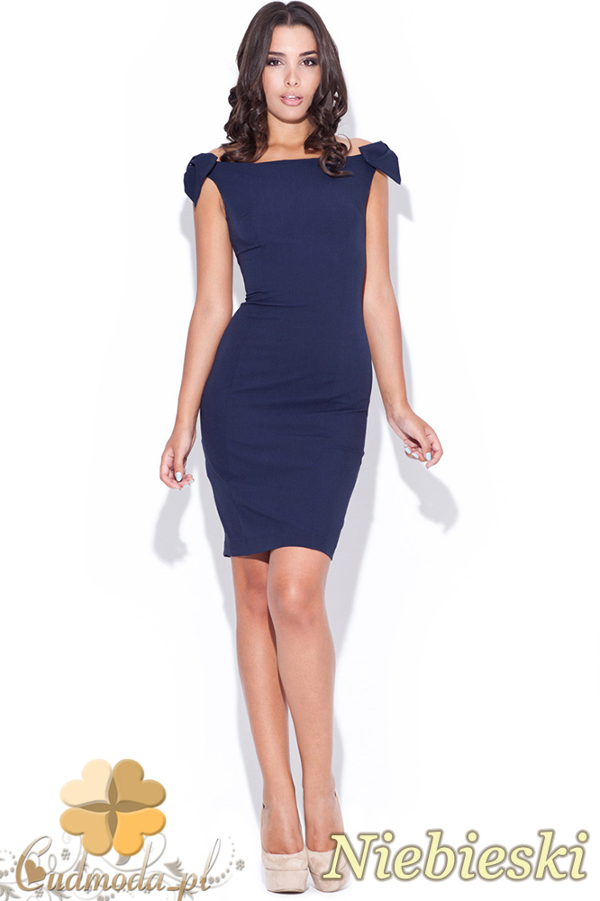 CM0469 KATRUS K028 Sukienka ołówkowa z ozdobnymi kokardkami - niebieska