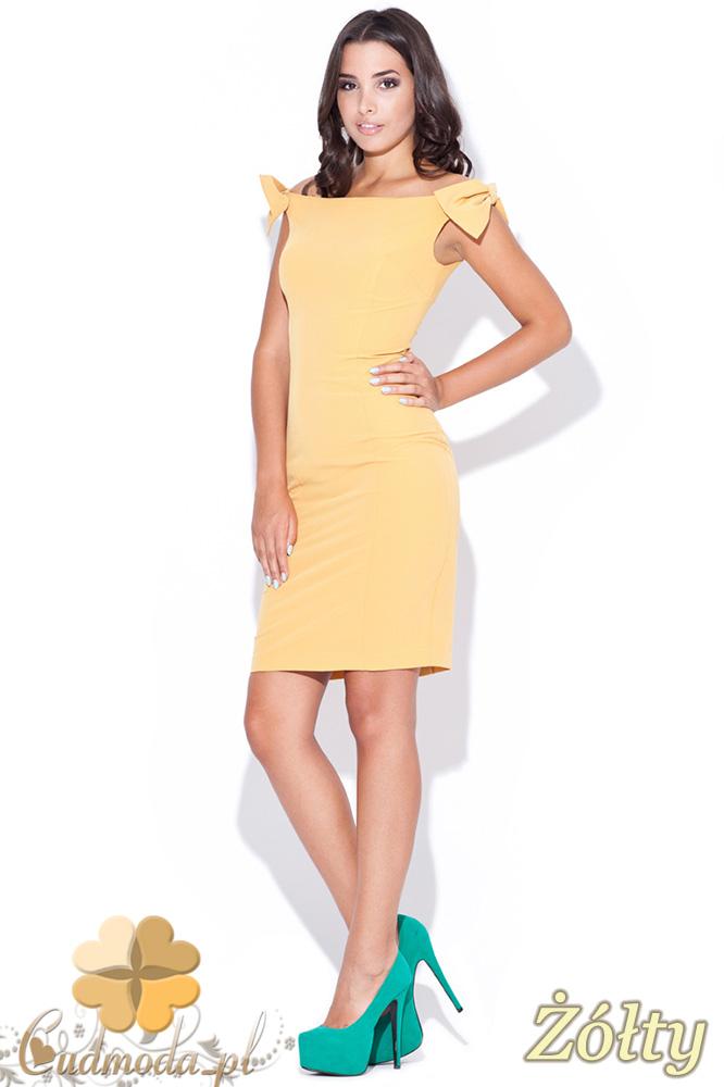 CM0469 KATRUS K028 Sukienka ołówkowa z ozdobnymi kokardkami - żółta