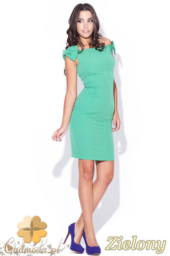 CM0469 KATRUS K028 Sukienka ołówkowa z ozdobnymi kokardkami - zielona