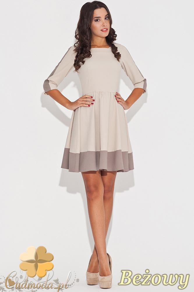 CM0470 KATRUS K057 Dwukolorowa sukienka rozkloszowana przed kolano - beżowa