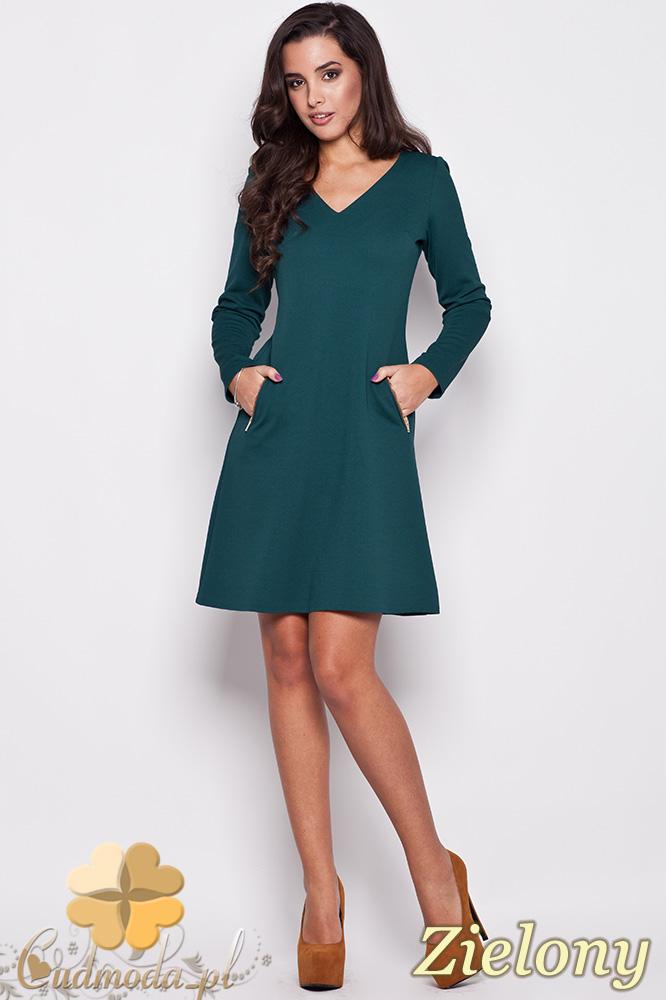 CM0472 KATRUS K078 Sukienka przed kolano z kieszonkami - zielona