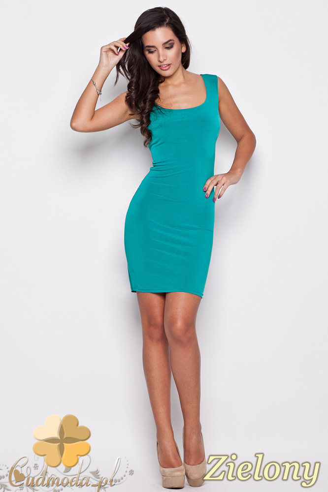 CM0474 KATRUS K081 Klasyczna sukienka mini na ramiączkach - zielona