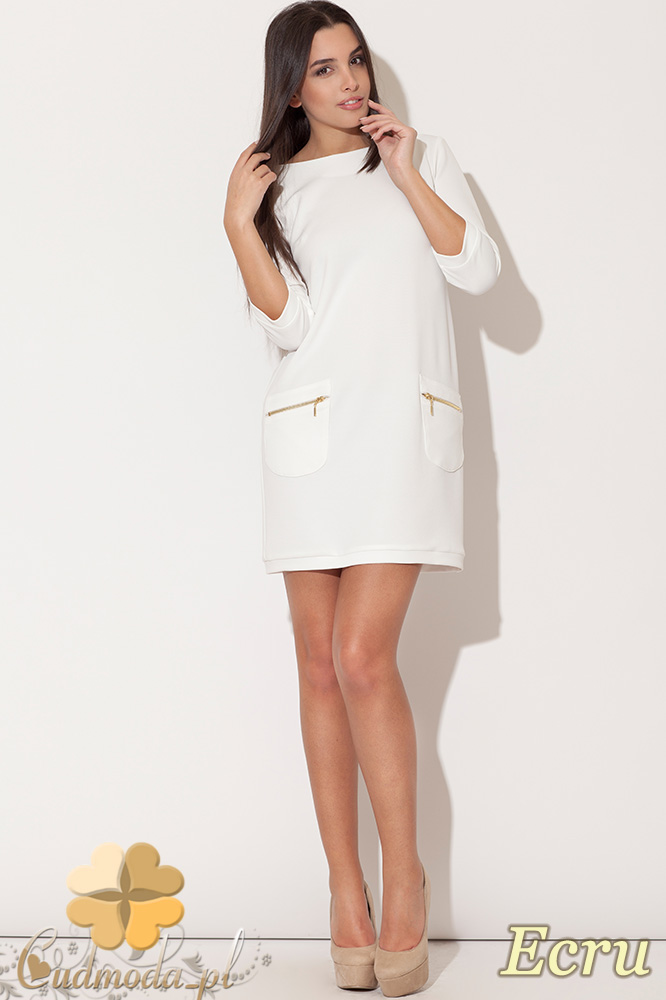 CM0477 KATRUS K087 Sukienka mini tunika z kieszeniami - ecru