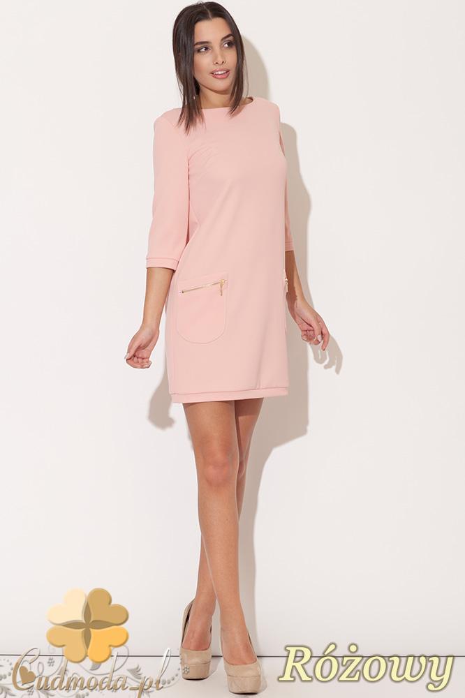 CM0477 KATRUS K087 Sukienka mini tunika z kieszeniami - różowa