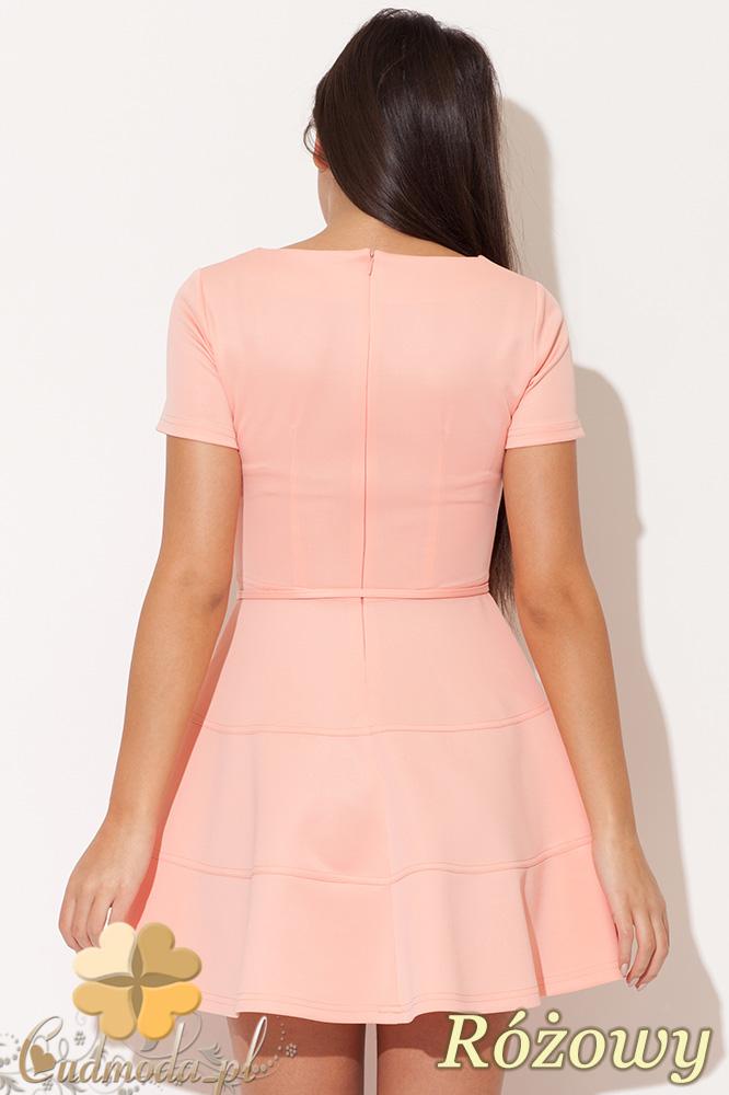 CM0478 KATRUS K090 Rozkloszowana sukienka mini - różowa