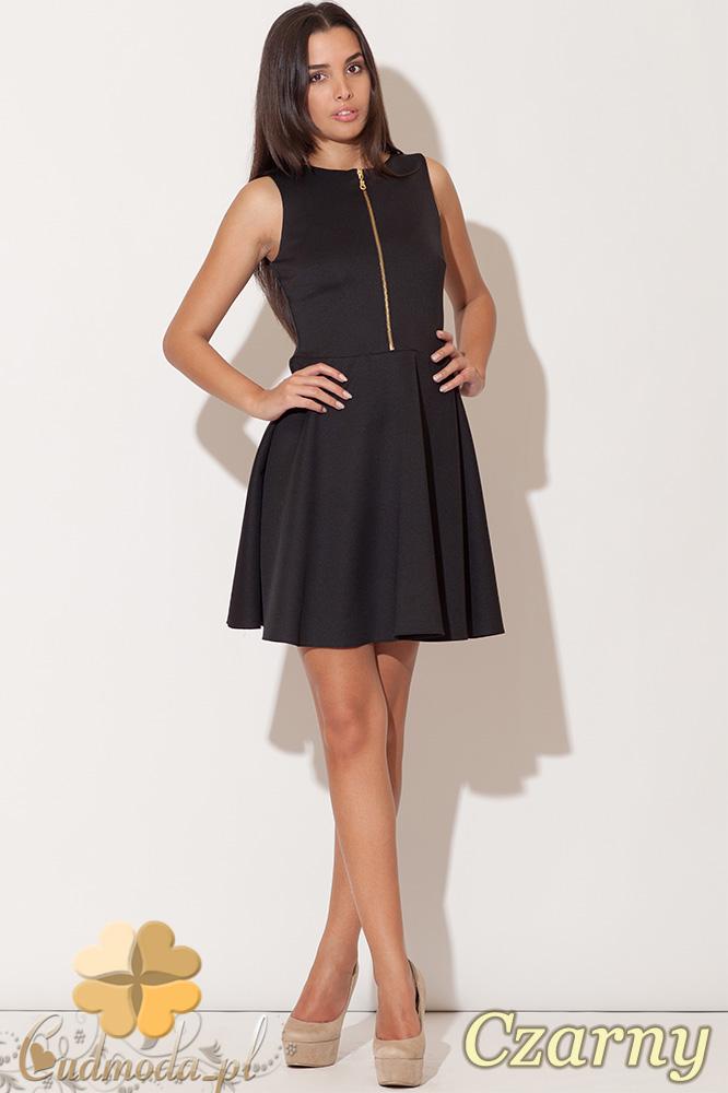 CM0479 KATRUS K098 Sukienka z dekoltem zasuwanym na zamek - czarna