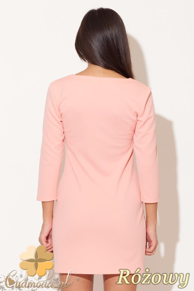 CM0480 KATRUS K104 Sukienka mini ze złotym zamkiem - różowa
