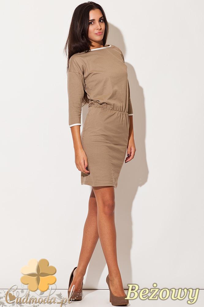 CM0482 KATRUS K105 Dresowa sukienka z lamówką - beżowa