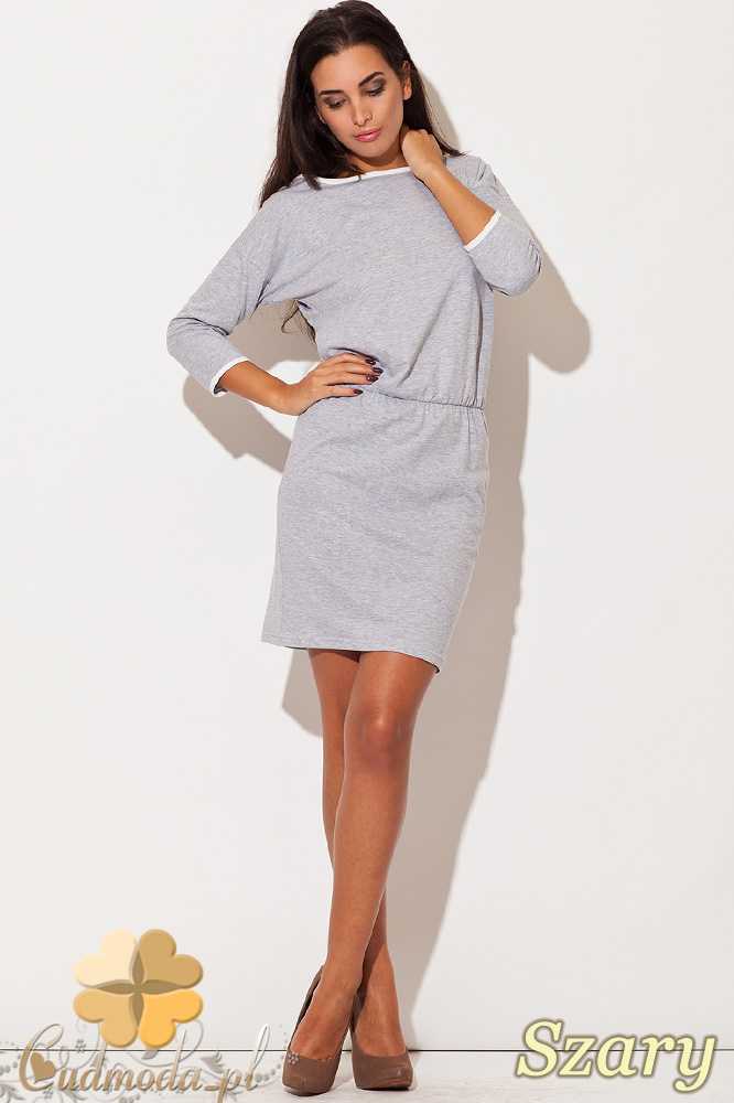 CM0482 KATRUS K105 Dresowa sukienka z lamówką - szara