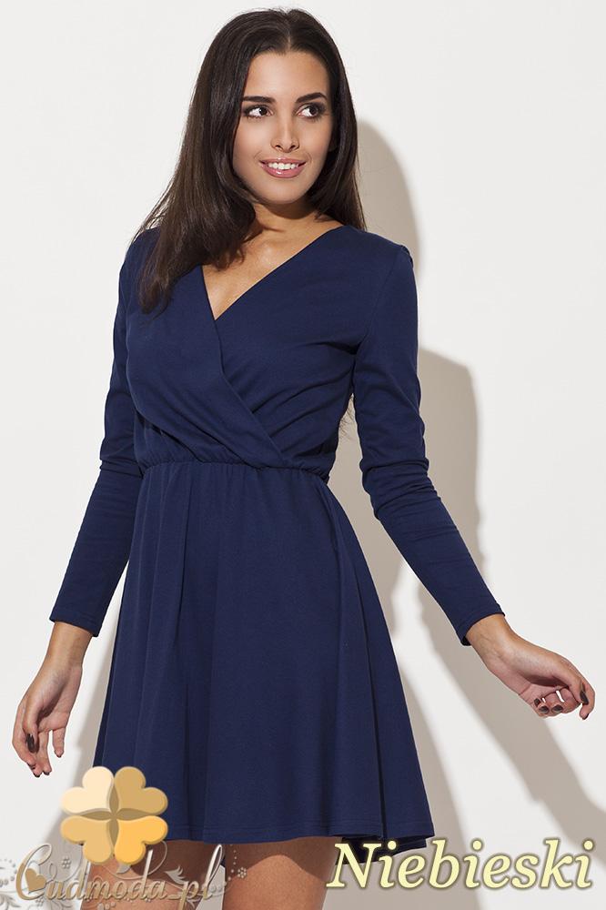 CM0483 KATRUS K116 Kopertowa sukienka kontrafałda - niebieska