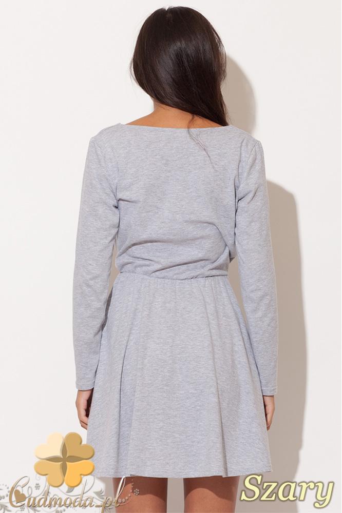 CM0483 KATRUS K116 Kopertowa sukienka kontrafałda - szara