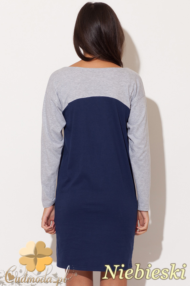 CM0484 KATRUS K106 Dwukolorowa sukienka mini tunika - niebieska