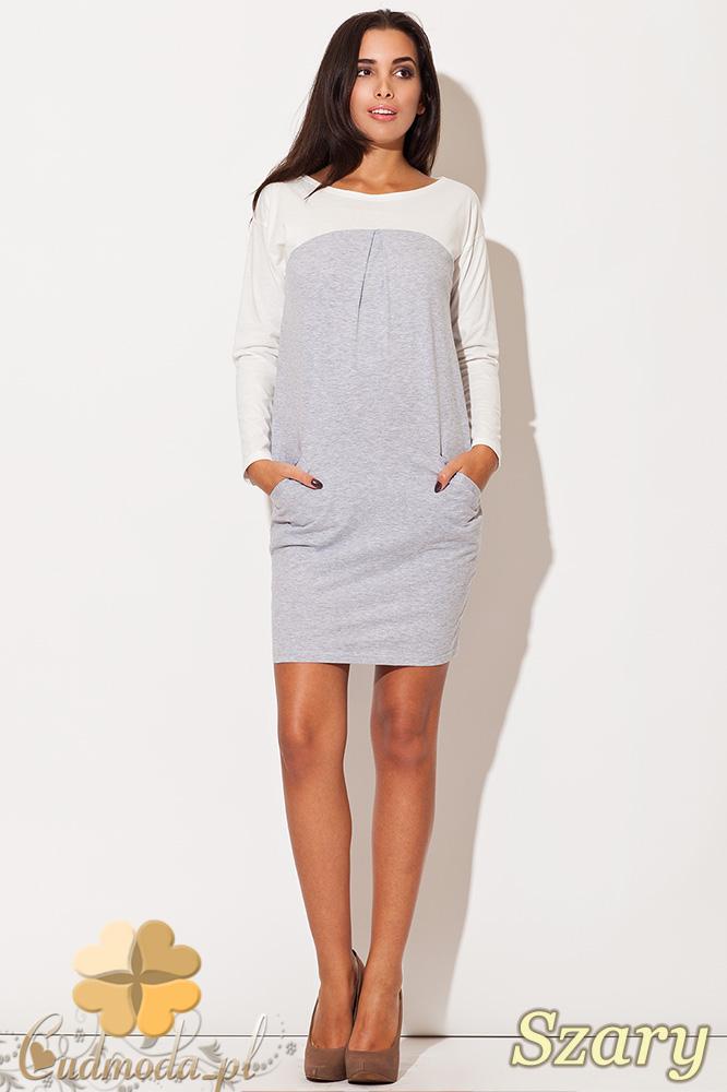 CM0484 KATRUS K106 Dwukolorowa sukienka mini tunika - szara