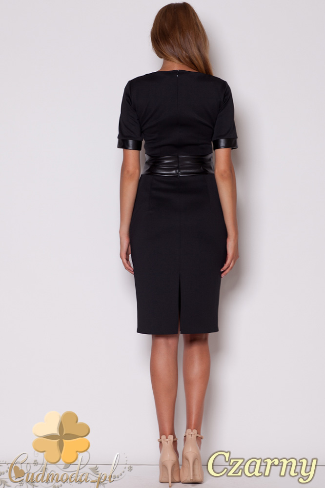 CM0498 FIGL M204 Sukienka ołówkowa przed kolano pas ze skóry - czarna