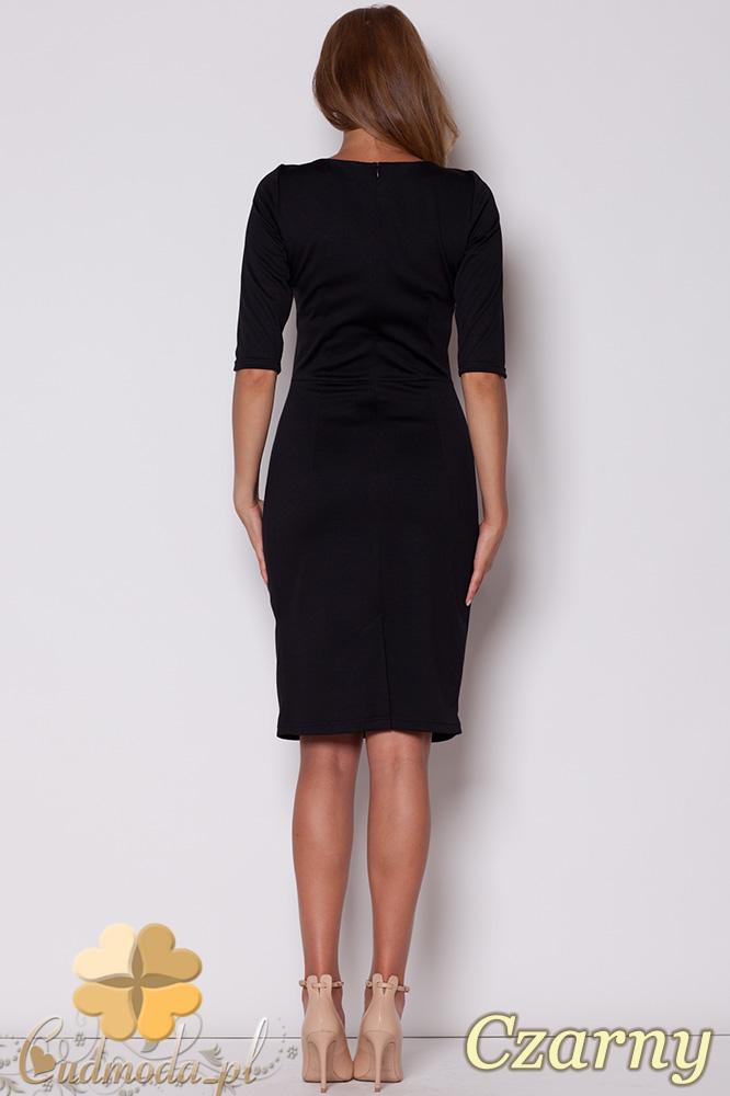 CM0499 FIGL M202 Sukienka ołówkowa przed kolano z rękawem 3/4 - czarna